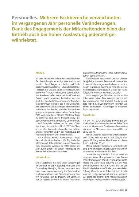 Bilanz per 31. Dezember 2010 - Berner Reha Zentrum