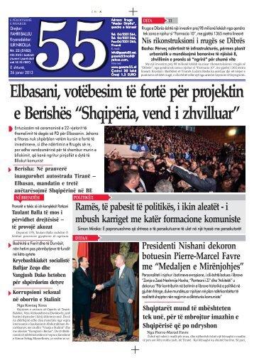 Elbasani, votëbesim të fortë për projektin e Berishës ... - Gazeta 55