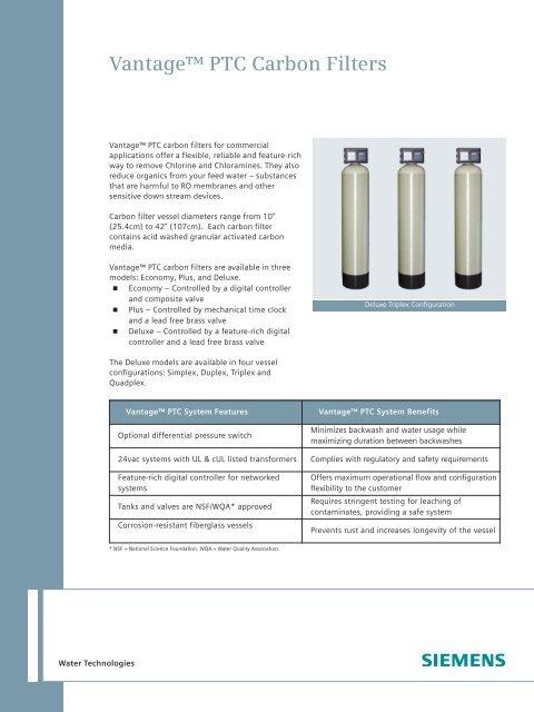 Vantage PTC Carbon Filters - Siemens