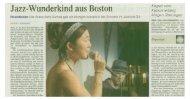 Jazz-Wunderkind aus Boston - Klinik Schützen Rheinfelden