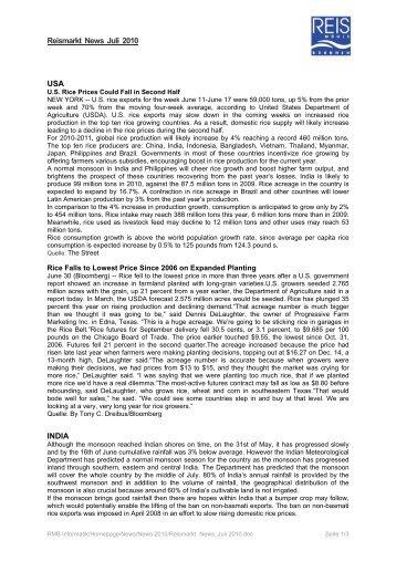 Reismarkt News Juli 2010 USA INDIA - Reismühle Brunnen