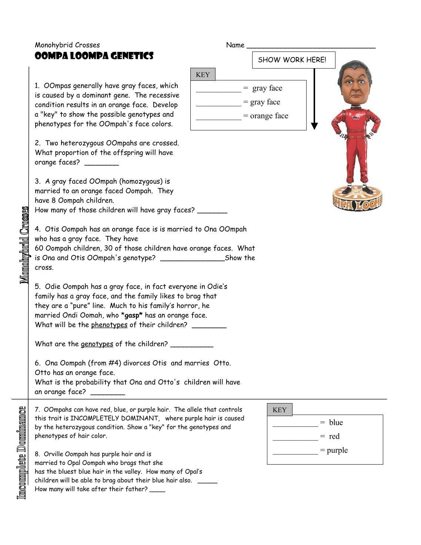 worksheet Oompa Loompa Genetics Worksheet Answer Key 2 free magazines from biologycorner com com