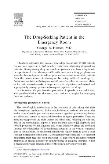 drug seeking behavior in the emergency department Emergency department staff's attitudes toward narcotics and drug-seeking patients who fabricate symptoms: a multicenter survey drug-seeking behavior.