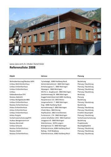 Referenzliste 2008 - raess-arch.ch