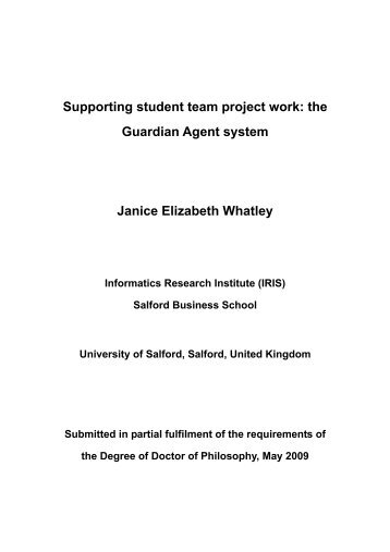 Supporting student team project work - University of Salford ...