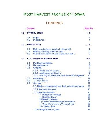 POST HARVEST PROFILE OF JOWAR - Agmarknet