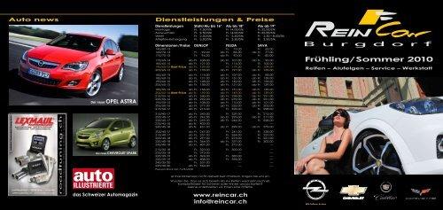 Frühling/Sommer 2010 Reifen – Alufelgen – Service - ReinCar AG