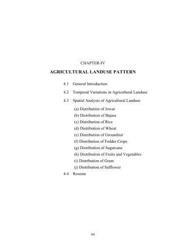 agricultural landuse pattern - Shodhganga