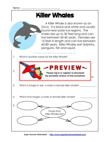 Name: Killer Whales - Super Teacher Worksheets