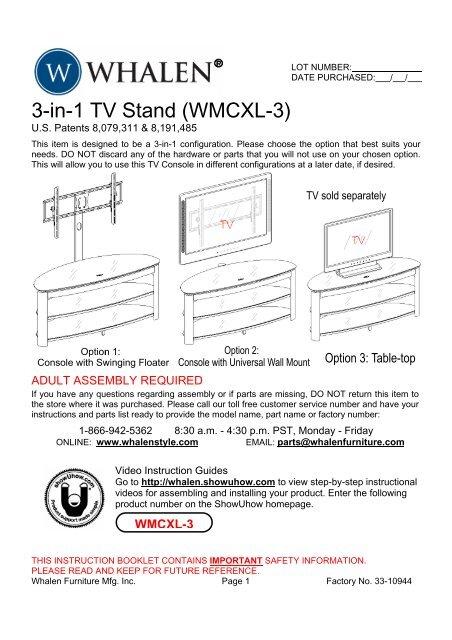 3 In 1 Tv Stand Wmcxl 3 Whalen Style
