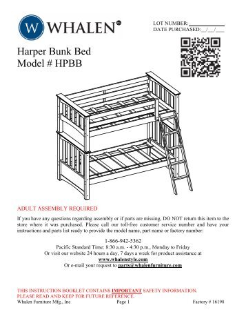Whalen Bunk Bed Assembly Instructions