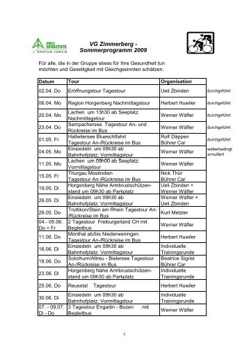VG Zimmerberg - Sommerprogramm 2009