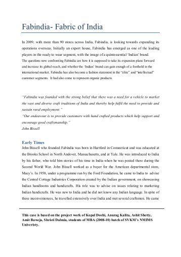 Fabindia- Fabric of India - NMIMS