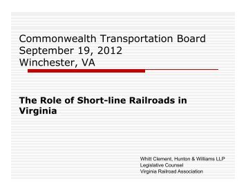 The role of short-line railroads in Virginia - Commonwealth ...