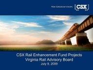 CSX Rail Enhancement Fund Projects Virginia Rail Advisory Board ...