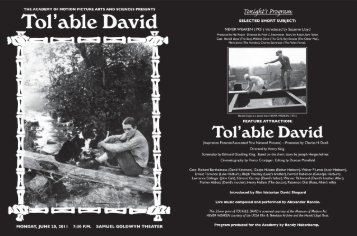 """Tol'able David"" Program - Academy of Motion Picture Arts and ..."
