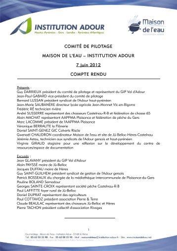 Compte rendu - Institution Adour