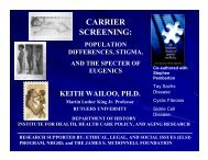 Carrier Screening: Population Differences, Stigma, and the Specter ...