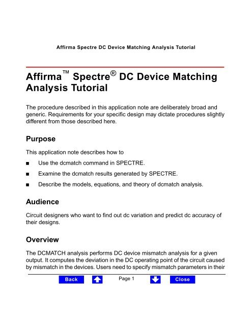 Affirma Spectre DC Device Matching Analysis Tutorial - Cadence