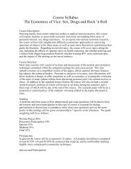 Course Syllabus The Economics of Vice: Sex, Drugs and Rock 'n Roll