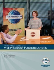 VICE PRESIDENT PUBLIC RELATIONS - Toastmasters International