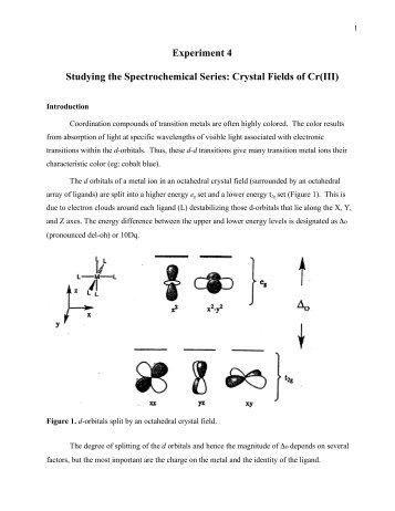 Experiment 4 Studying the Spectrochemical Series: Crystal Fields of ...