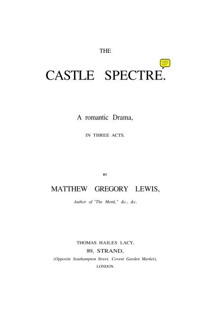 the castle spectre lewis matthew