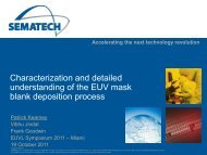 Characterization and detailed understanding of the EUV ... - Sematech