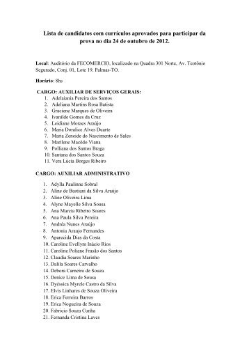 candidatos selecionados para prova de - Fecomercio
