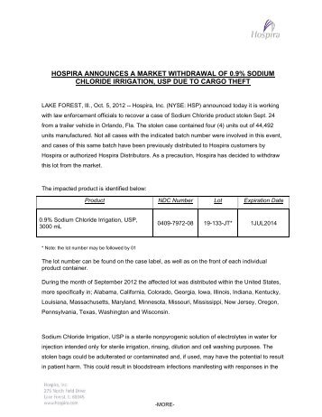 Hospira Market Withdrawal 0.9% Sodium Chloride Irrigation
