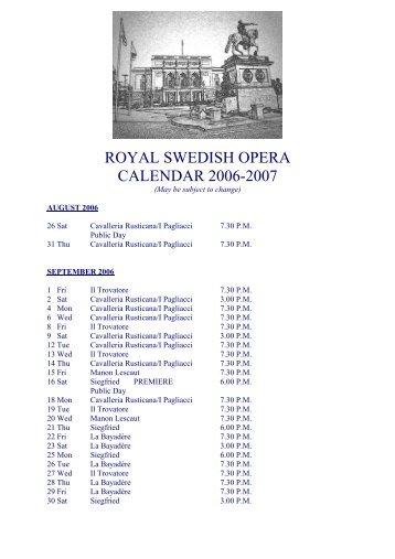 ROYAL SWEDISH OPERA CALENDAR 2006-2007