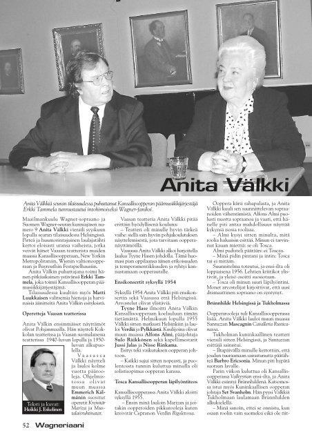 Anita Välkki - Suomen Wagner-Seura ry