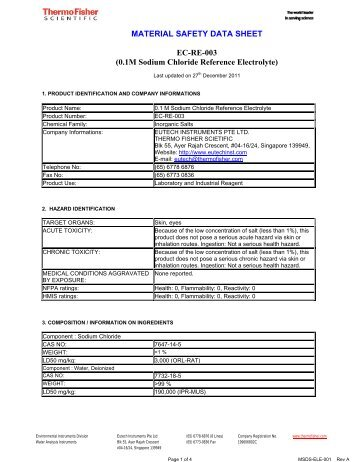 0.1M Sodium Chloride Reference Electrolyte - Eutech
