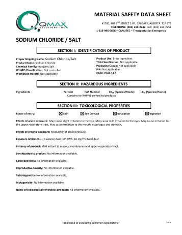 sodium chloride / salt - Q'Max Solutions Inc