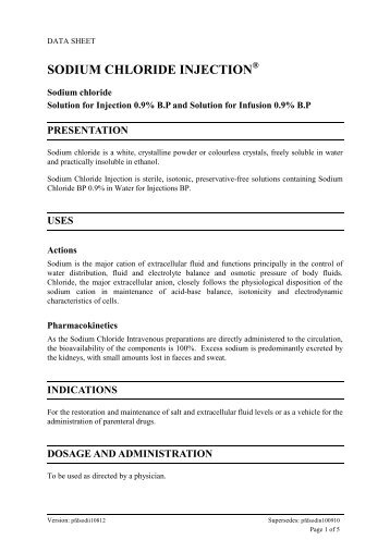 Sodium Chloride Injection - Medsafe