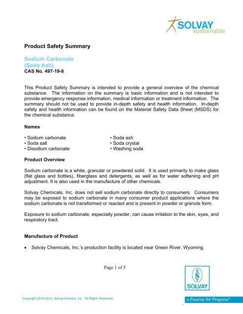 Sodium Carbonate (Soda Ash) - Solvay North America, LLC