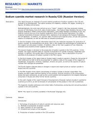 Sodium cyanide market research in Russia/CIS (Russian Version)