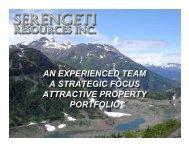 an experienced team a strategic focus attractive ... - Minerals North