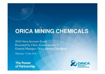 2010 Orica Investor Event - Orica Mining Chemicals presentation