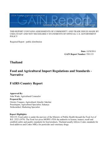 FAIRS Country Report Food and Agricultural Import ... - Agri Exchange