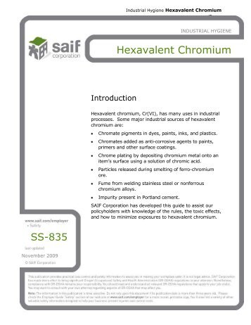 SS-835, Hexavalent Chromium - SAIF Corporation