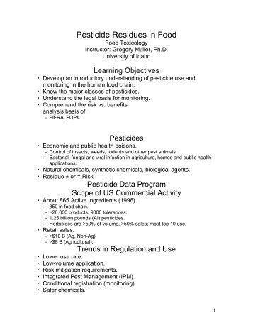 Pesticide Residues in Food - agls.uidaho.edu - University of Idaho