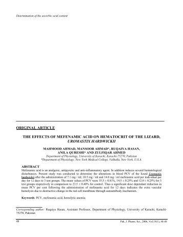 articles upon mefenamic acid