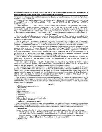 NORMA Oficial Mexicana NOM-007-FITO-1995, Por la que se ...