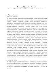Provisional Quarantine Pest List