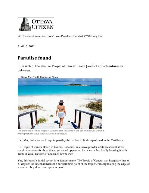 Paradise Found - Ottawa Citizen - Grand Isle Resort & Spa