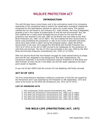 wild life protection act (1) this act may be called the wild life (protection) amendment act, 2006 short title and commence- (2) it shall come into force on such date as the central.