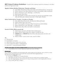 BFC School Uniform Guidelines - Bishop Foley Catholic High School