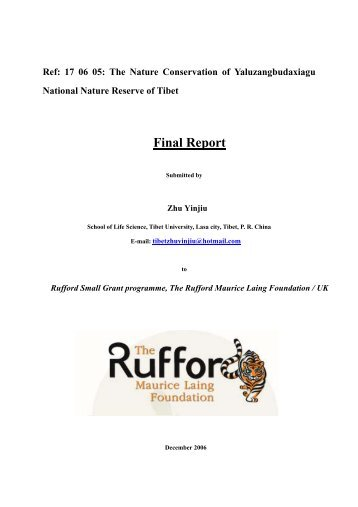 Detailed Final Report - The Rufford Small Grants Foundation