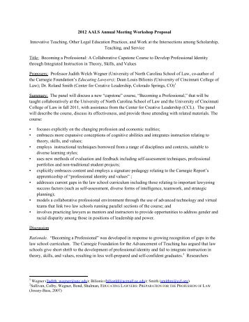 Becoming a Professional: A Collaborative Capstone Course to - AALS